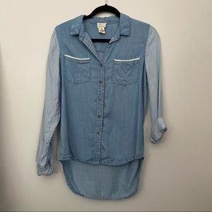 Two Tone Button Down Long Sleeve